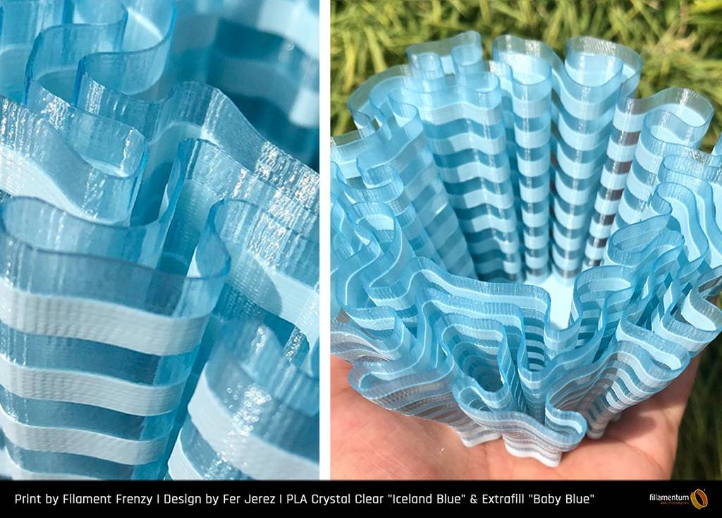 Fillamentum 1,75 mm PLA Crystal Clear filamento, Iceland Blue