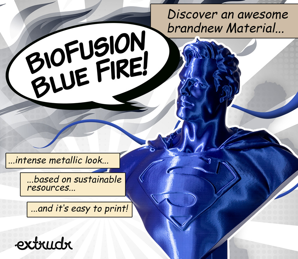 Extrudr 1.75 mm Biofusion filament silk finish, Blue Fire