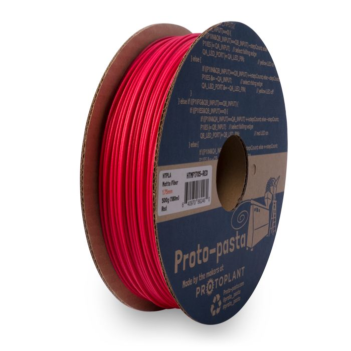 Proto-pasta 1,75 mm Matte Fiber HTPLA filamento, Rosso