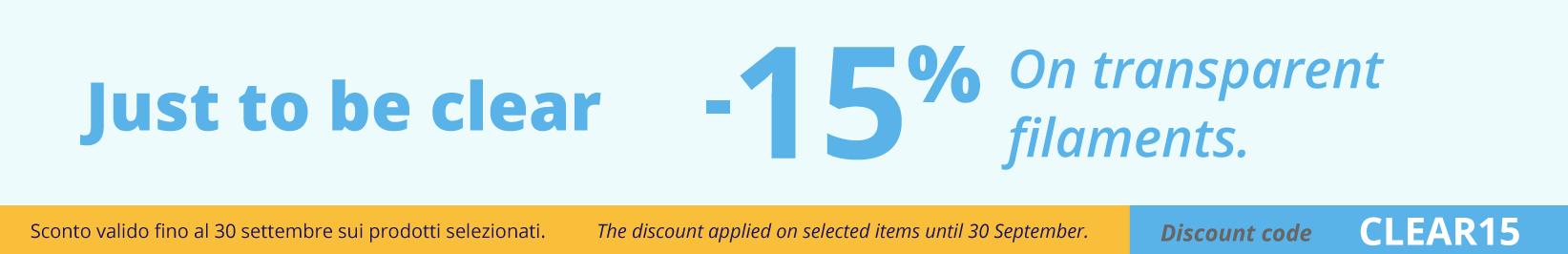 15% discount on trasparent filaments