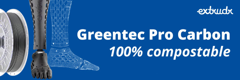 GreenTec Pro carbon by extrudr 100% compostable filament