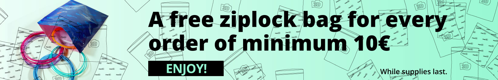 Mega 3d filaments ziplock bag