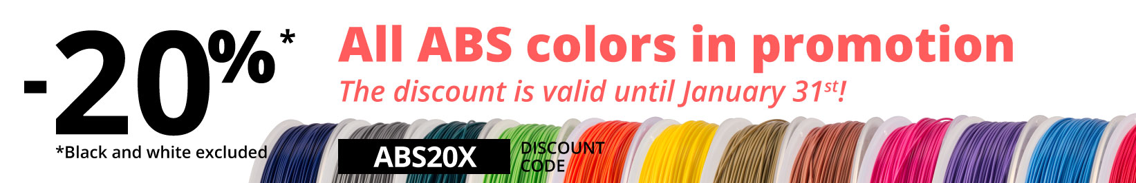 20% discount on ABS 3D filament