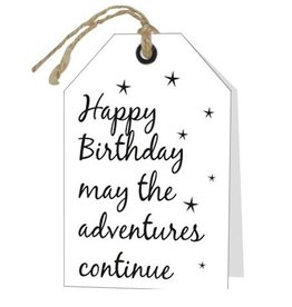 Wenskaart Happy Birthday may the adventures continue - Rebel30