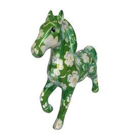 Pomme-Pidou Spaarpot Paard Lucky groen met witte bloemen - Pomme-Pidou