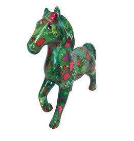 Pomme-Pidou Spaarpot Paard Lucky groen met flamingo's - Pomme-Pidou
