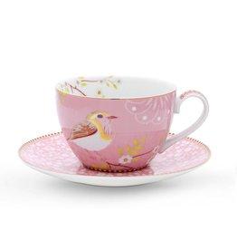 Pip Studio Cappuccino Kop & Schotel Early Bird roze - Pip Studio
