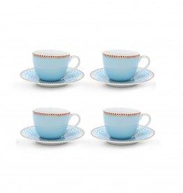 Pip Studio Set van 4 Espresso Kop en Schotels blauw - Pip Studio
