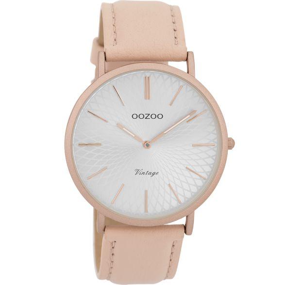 OOZOO Horloge Vintage soft pink zilver alu 40mm C9336 - OOZOO