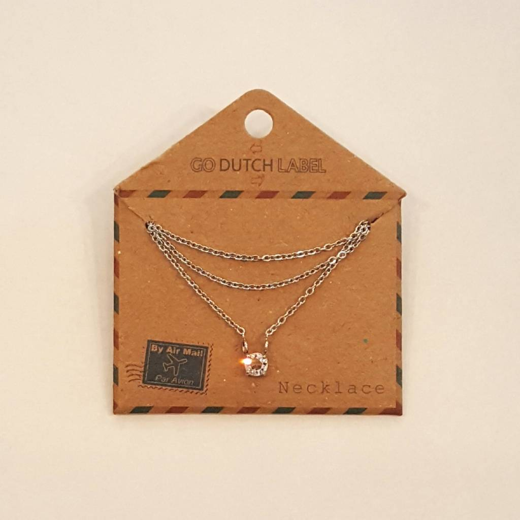 Go Dutch Label Ketting Crystal Zilver N7070-6RH - Go Dutch Label