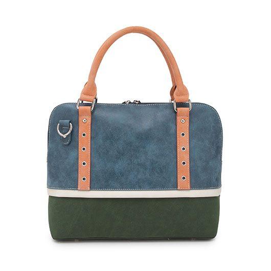 Hi-Di-Hi Tas 5th Avenue blauw/d.groen/wit/peach - Hi-Di-Hi