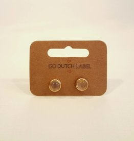 Go Dutch Label Oorbellen Grey Agate 18K Goud - Go Dutch Label