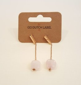 Go Dutch Label Oorbellen Hangers Rose Quartz Rose Gold - Go Dutch Label
