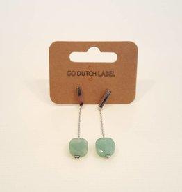 Go Dutch Label Oorbellen Hangers Green Aventurine Zilver - Go Dutch Label