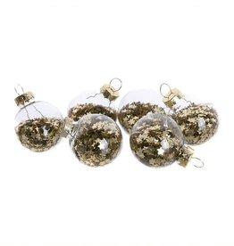 Home Society Kerstballen klein gevuld met gouden sterren 12stuks - Home Society