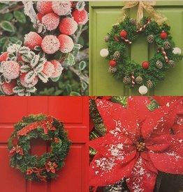 Kerstkaarten 10stuks prettige kerstdagen en een gelukkig nieuwjaar - deurkrans