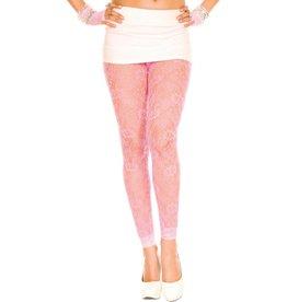 Music Legs Kanten Legging Met Bloemenpatroon - Roze