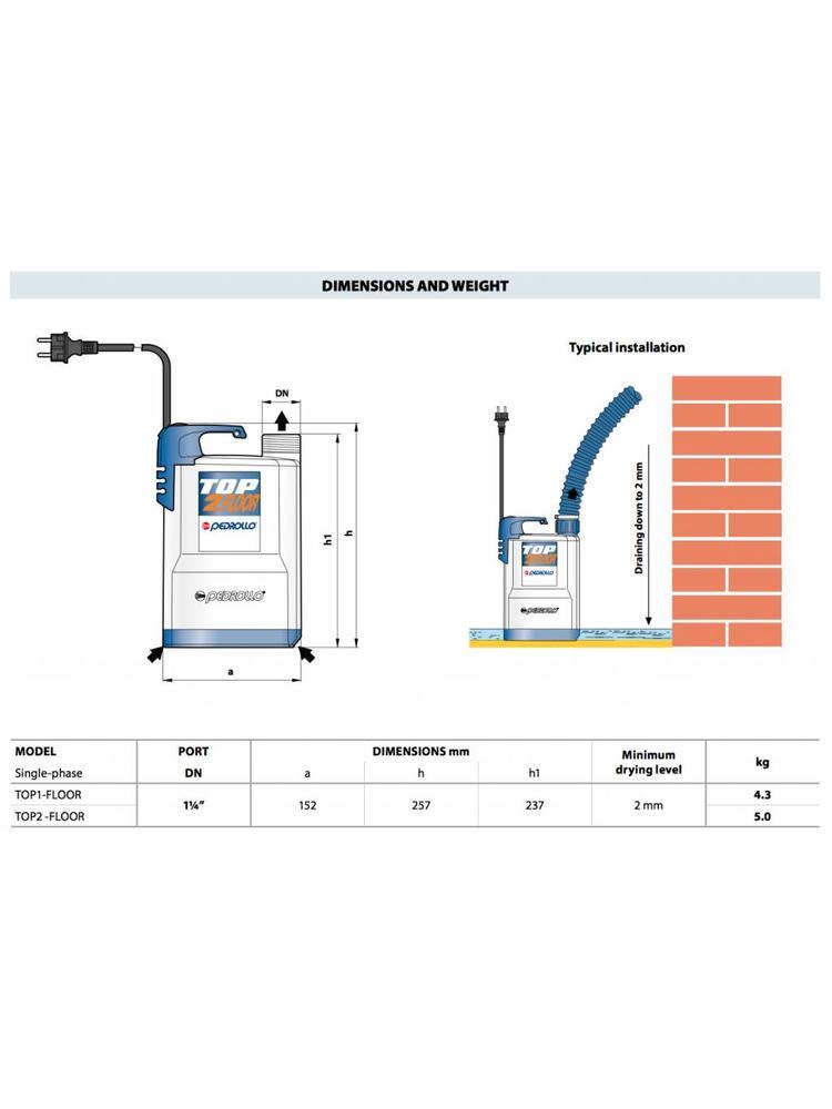 Pedrollo pumps Pedrollo pumps Top Floor 1 - 7200 l/h - 250 Watt