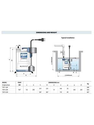 Pedrollo pumps Pedrollo pumps Top 1-GM - met staafvlotter - 9600 l/h - 0,33 pk