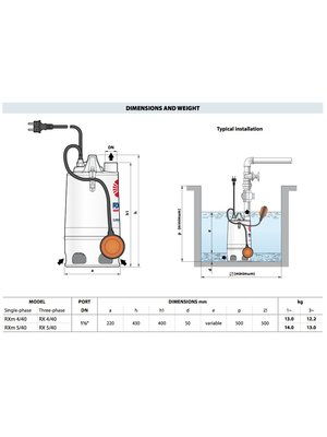 Pedrollo pumps Pedrollo pumps RXm 4/40 Vortex - met vlotter - 16800 l/h - 1 pk