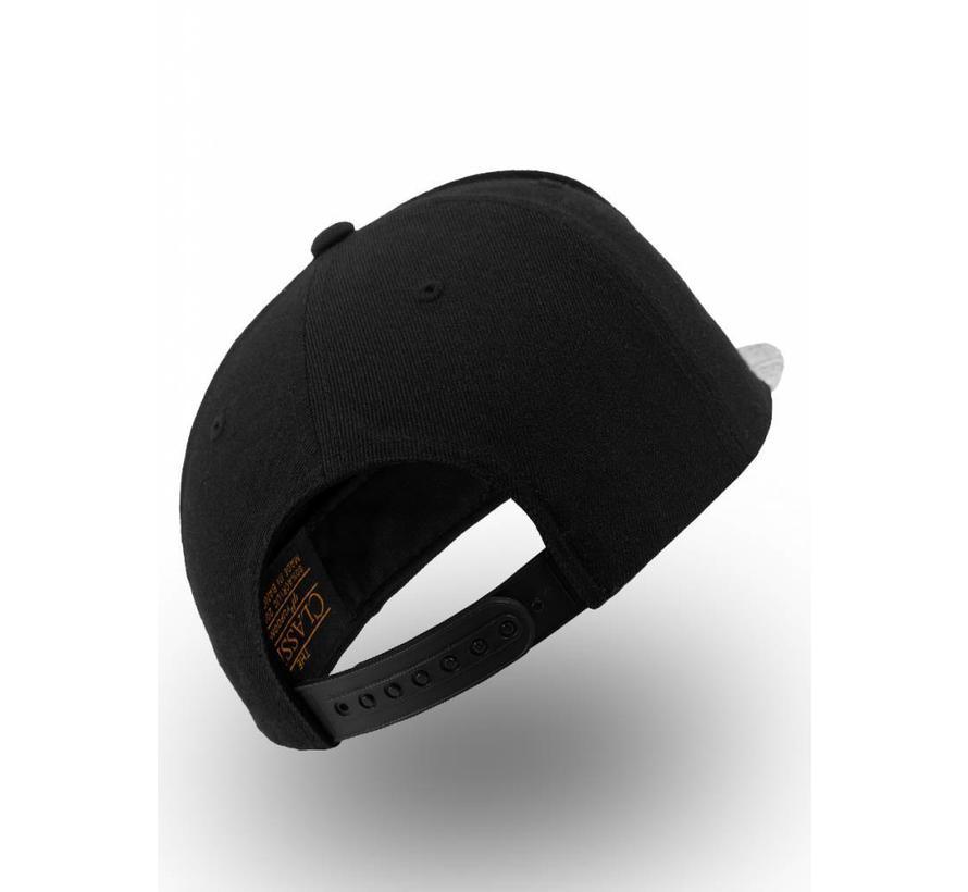 Snapback - Zwart met grijs gestreepte visor
