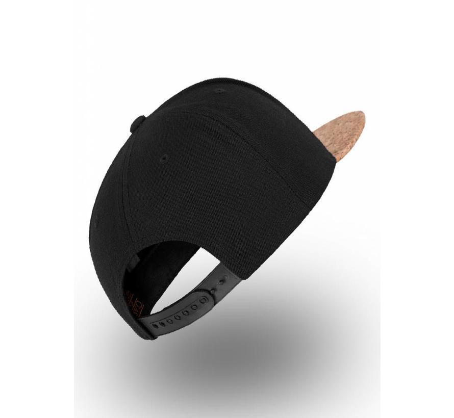 Snapback - Zwart met visor uit kurk