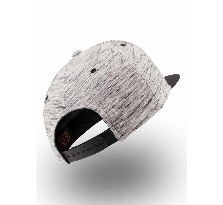 Snapback - Grijs gestreept met zwarte visor