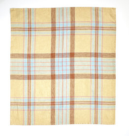 linen tea towel Westport Straw Check