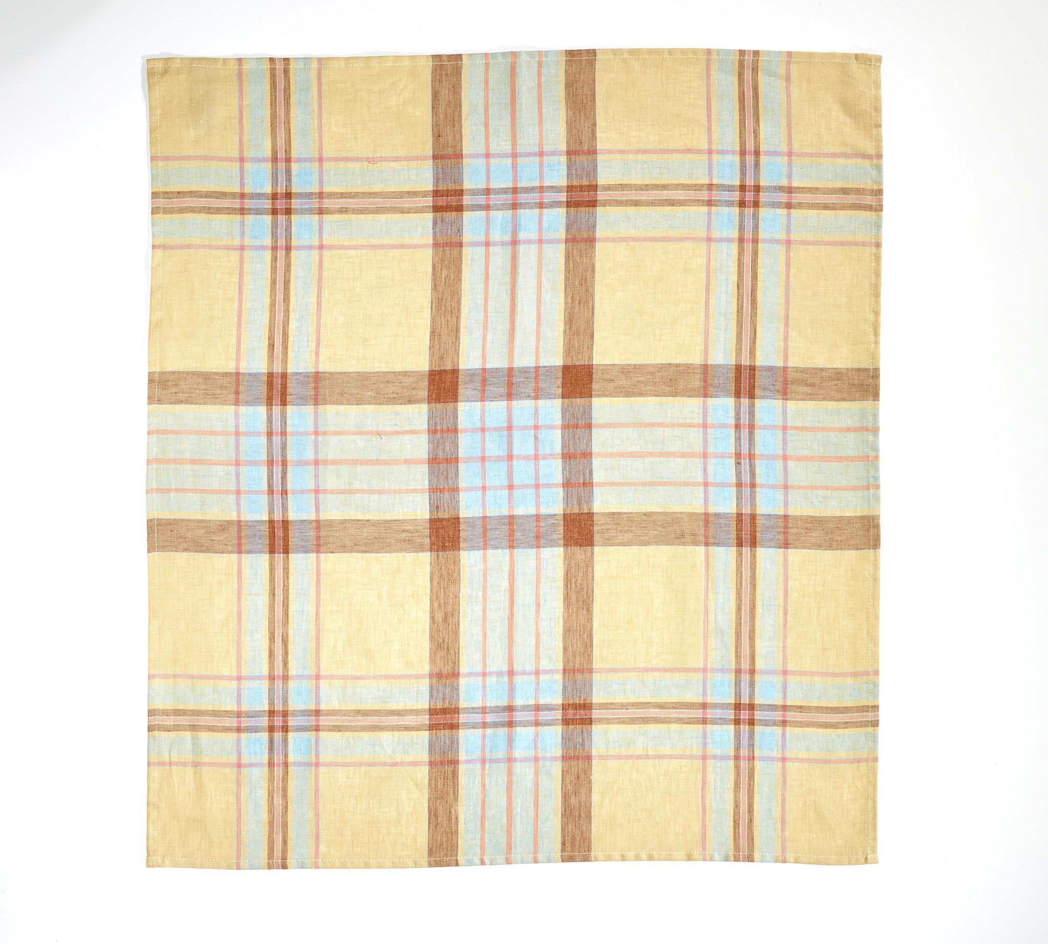 linen tea towel Westport Straw Check