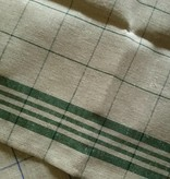 linen tea towel, green chequered
