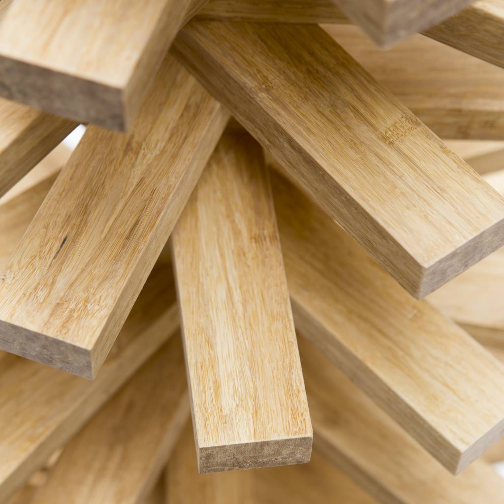 Houten kerstboom bamboe creme
