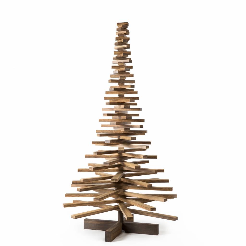 Houten kerstboom bamboe caramel