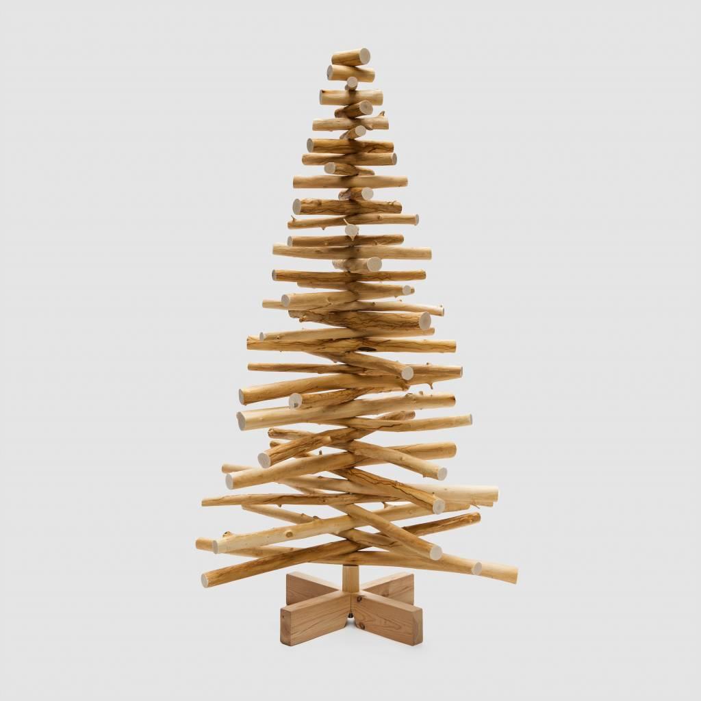 Houten kerstboom lijsterbes rond