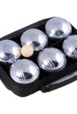 HOT Sports + Toys Jeu de Boules 6 bals zwart/chroom in tas