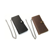 Truckers wallet leather - Large model - Black / Brown