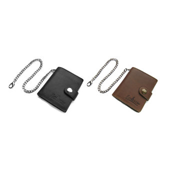 Truckers wallet leather - Small model - Black / Brown