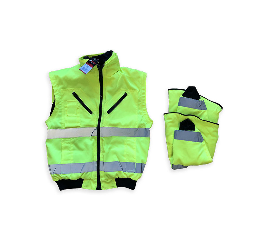 Yellow fluorescent jacket with reflective strips