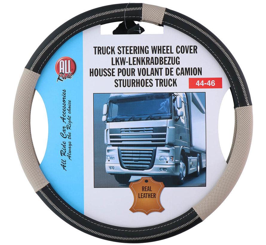 Genuine leather steering wheel cover 44-46 / Beige-black