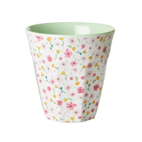 Rice Melamine beker Flowers- White