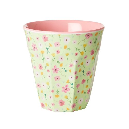 Rice Melamine beker Flowers- Green