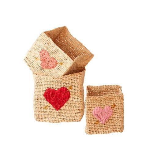 Rice Set Vierkante Mandjes Heart