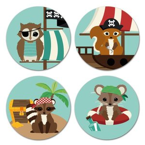 Oktoberdots Set Stickers Woodland Piraten