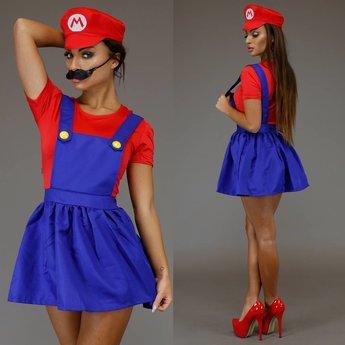 Vrouwelijk Mario Kostuum