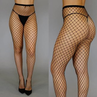 Fashion Big Fishnet Panty Zwart