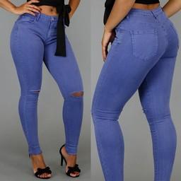 !OP=OP Basic Blauwe Regular Waist Jeans met Scheuren