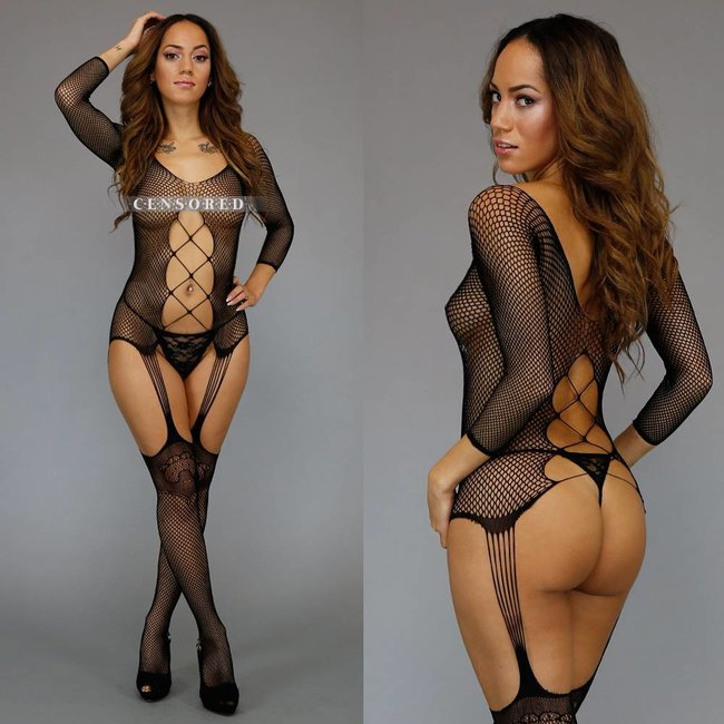Sexy Zwarte Visnet Bodystocking met Straps