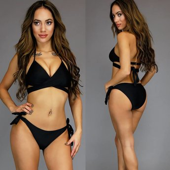 Trendy Zwarte Push-Up Wrap Bikini