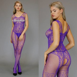 Sexy Paarse Bodystocking met Strappy Schouders
