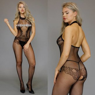 Zwarte Halter Fishnet Bodystocking met Kanten Design