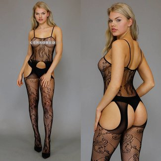 Zwarte Bodystocking met High Cut Jarretel-Look